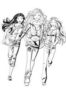 Разукрашка Бегущие подружки распечатать на А4 и скачать - Барби
