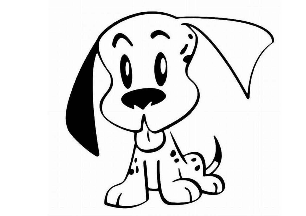 Раскраска Белая собачка с чёрным ухом распечатать | Собаки ...