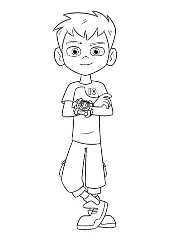 Бен стоит со скрещенными руками (Бен 10) распечатать бесплатную раскраску