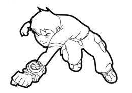 Бен Теннисон в прыжке (Бен 10) бесплатная раскраска на печать
