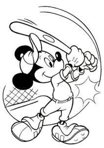 Бейсболист Микки (Микки Маус) распечатать раскраску