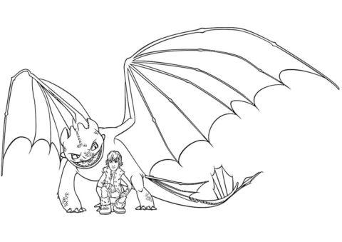 Беззубик и Иккинг (Драконы) бесплатная раскраска на печать