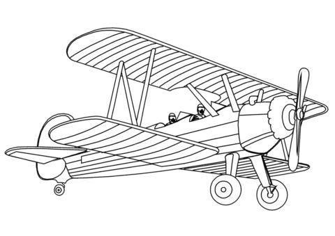 Бесплатная раскраска Биплан У-2 Мул распечатать на А4 и скачать - Самолеты