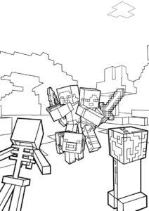 Битва в Майнкрафте - Майнкрафт распечатать раскраску на А4