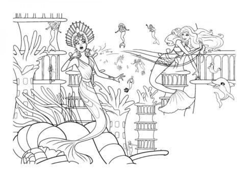Битва за ожерелье бесплатная раскраска - Барби