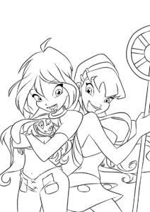 Блум с подругой - Винкс раскраска распечатать на А4