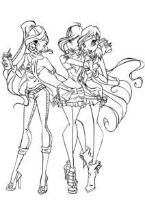Блум, Стелла и Муза (Винкс) распечатать раскраску