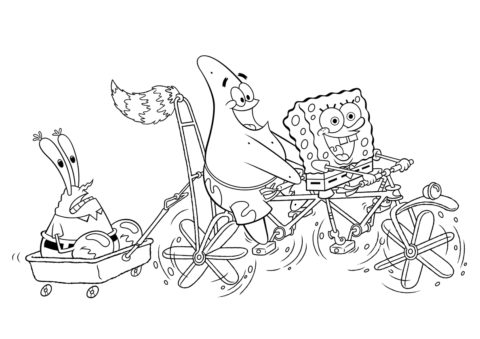 Боб и Патрик прокатили Крабса распечатать раскраску - Губка Боб