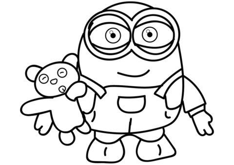 Миньоны распечатать раскраску - Боб и плюшевый мишка
