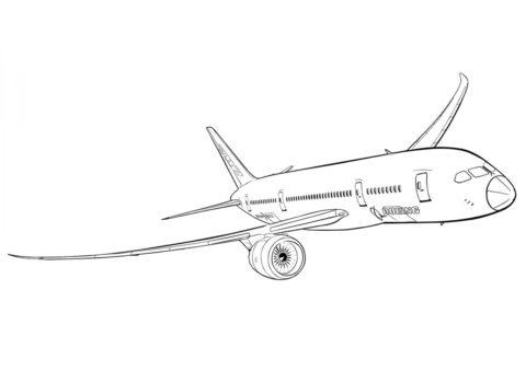 Boeing 787 Dreamliner (Самолеты) бесплатная раскраска