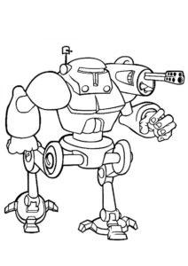 Боевой робот - Роботы бесплатная раскраска