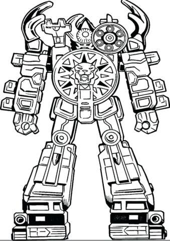Раскраска Боевой робот-тигр распечатать | Роботы