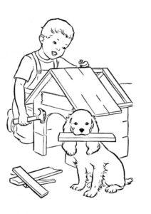 Болонка и её юный хозяин строят будку (Собаки и щенки) бесплатная раскраска