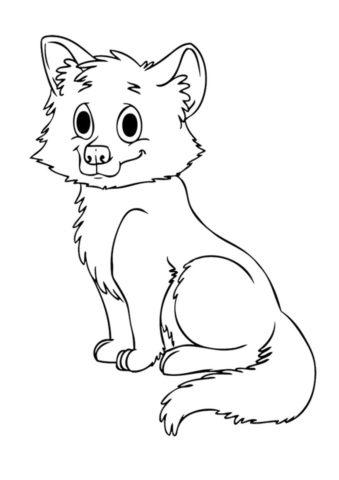 Большеглазый волчонок распечатать разукрашку бесплатно - Волки