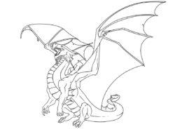 Большекрылый дракон (Драконы) разукрашка для печати на А4