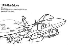 Самолеты распечатать раскраску - Бомбардировщик JAS-39A Gripen