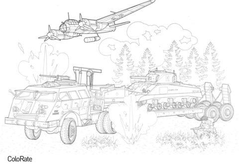Бомбардировщик Junkers и танковый транспортёр Dragon Wagon (Военные) разукрашка для печати на А4