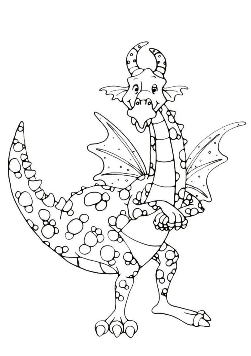 Раскраска Бородавчатый дракон распечатать | Драконы