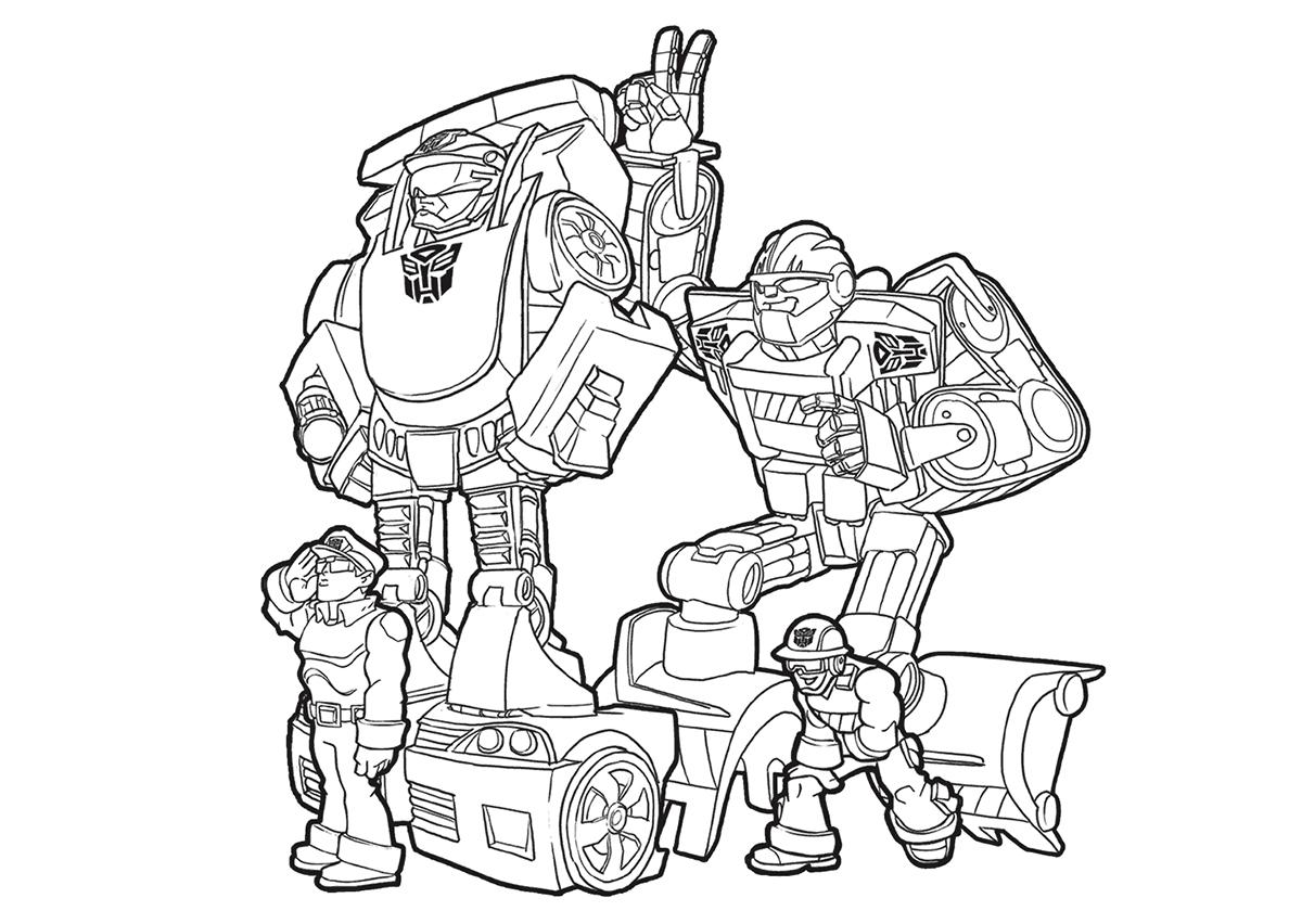 Раскраска Боты-спасатели распечатать | Трансформеры
