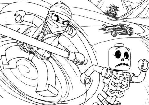 Разукрашка Бой со скелетами распечатать на А4 - LEGO Ниндзяго
