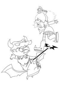 Бой Стар Баттерфляй с Людо раскраска распечатать на А4 - Стар против сил зла