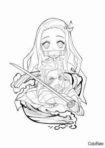 Брат и сестра (Раскраски из аниме «Клинок, рассекающий демонов») разукрашка для печати на А4