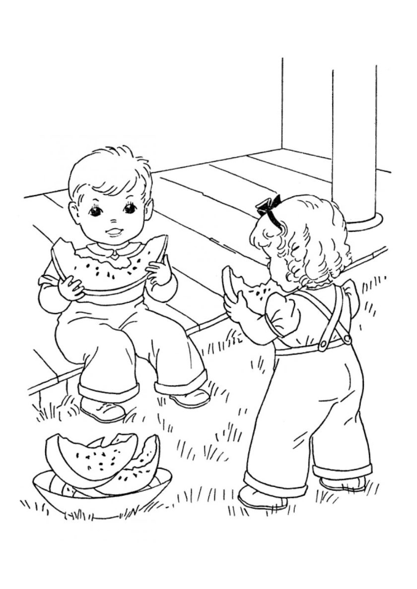 Раскраска Брат с сестрой едят арбуз распечатать | Лето