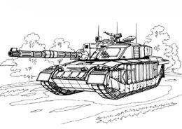 Раскраска Британский танк Челленджер 1 распечатать на А4 - Танки