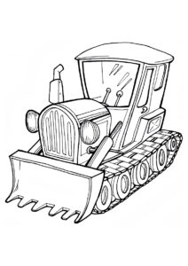 Раскраска Бульдозер в перспективе - Трактора