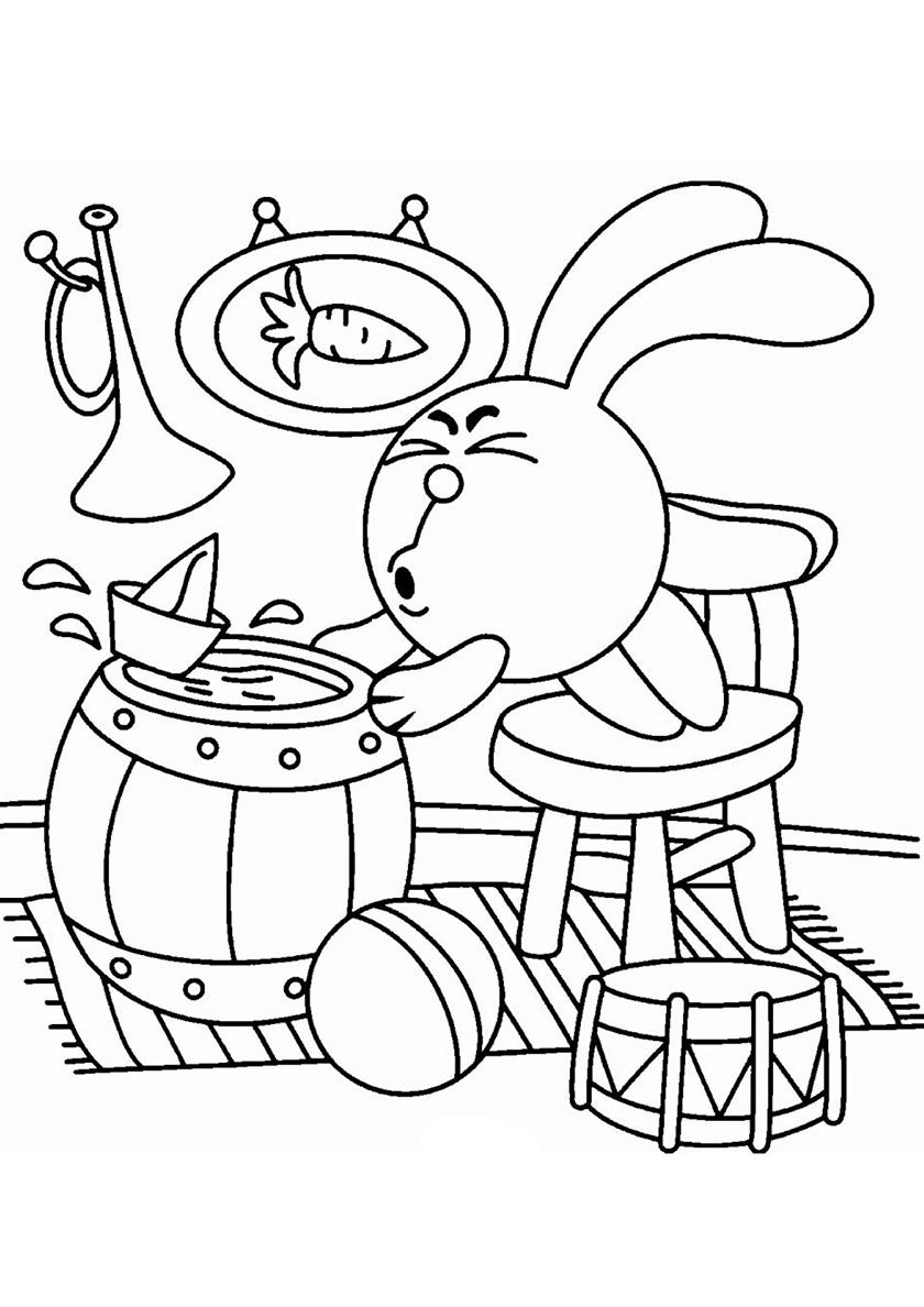Раскраска Бумажный кораблик Кроша распечатать | Смешарики