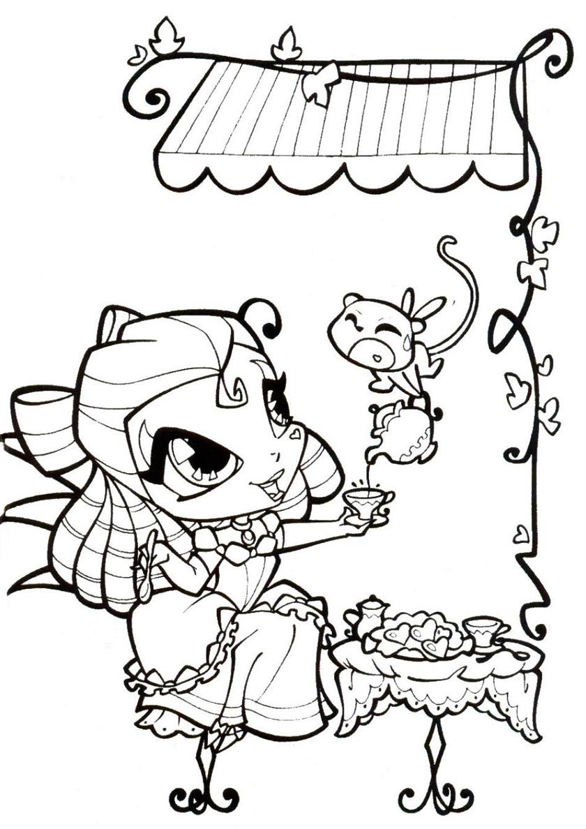 Раскраска Чаепитие с Тьюн распечатать | Винкс / Winx