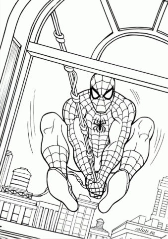 Человек-паук залетает в здание - бесплатная раскраска