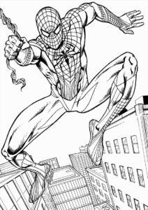Человек-паук с паутиной - разукрашка для мальчиков