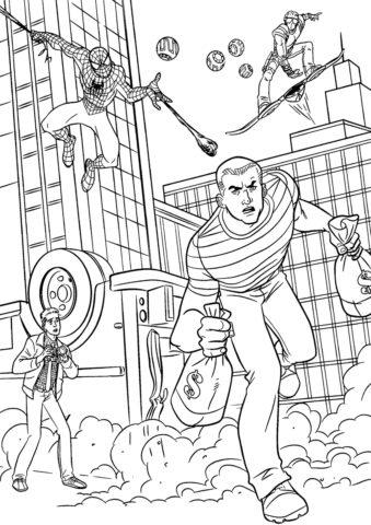 Раскраска - Человек-паук ловит песочного человека