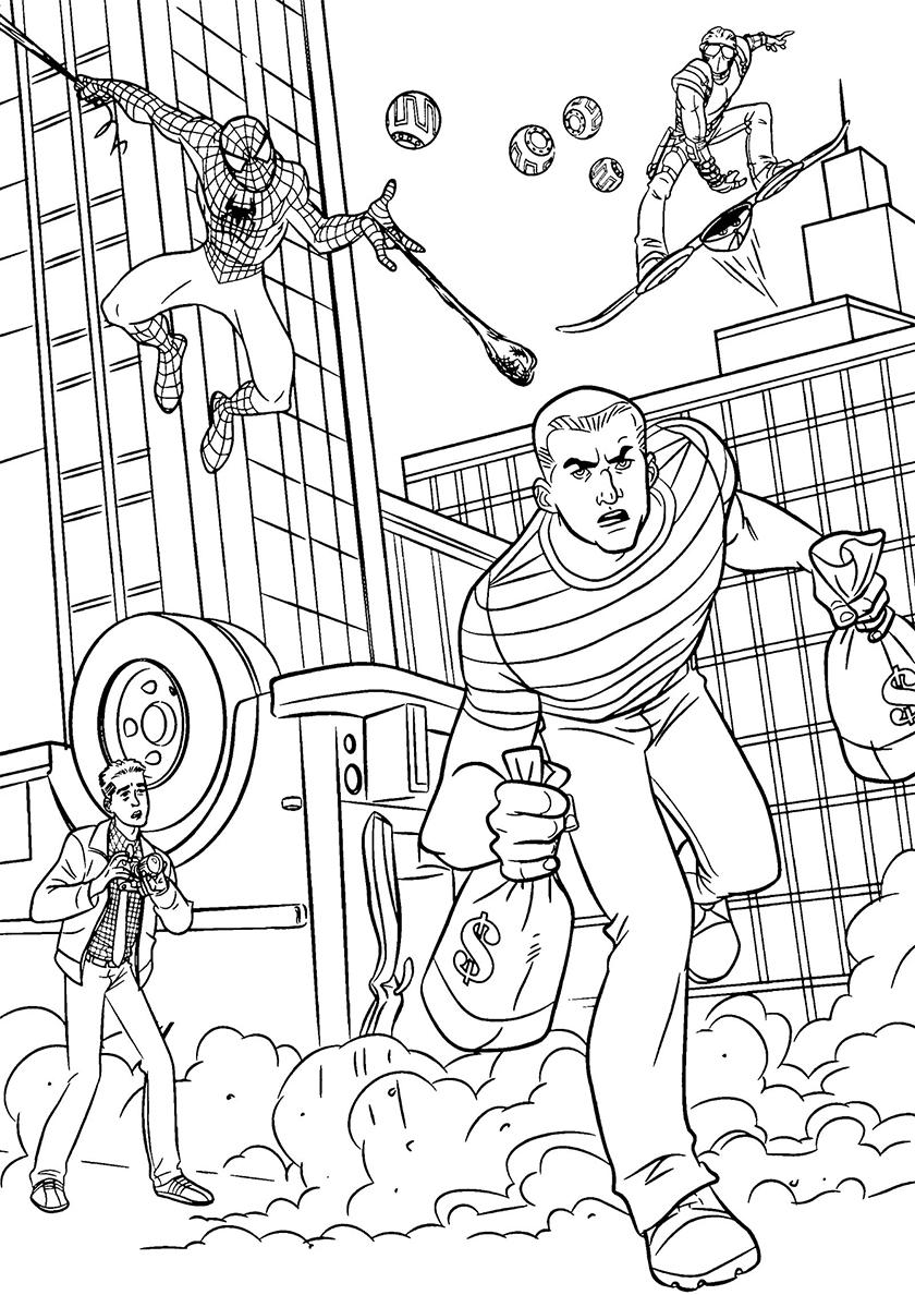 Раскраска Человек-паук в погоне за вором распечатать ...