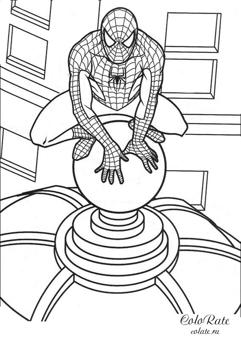Раскраска Супергерой на крыше распечатать | Человек-паук