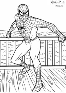 Разукрашка - человек паук у моря