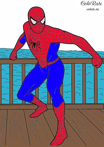 Раскраска Супергерой на причале распечатать | Человек-паук