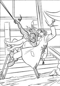 Раскраска - Человек-паук спасает девушку