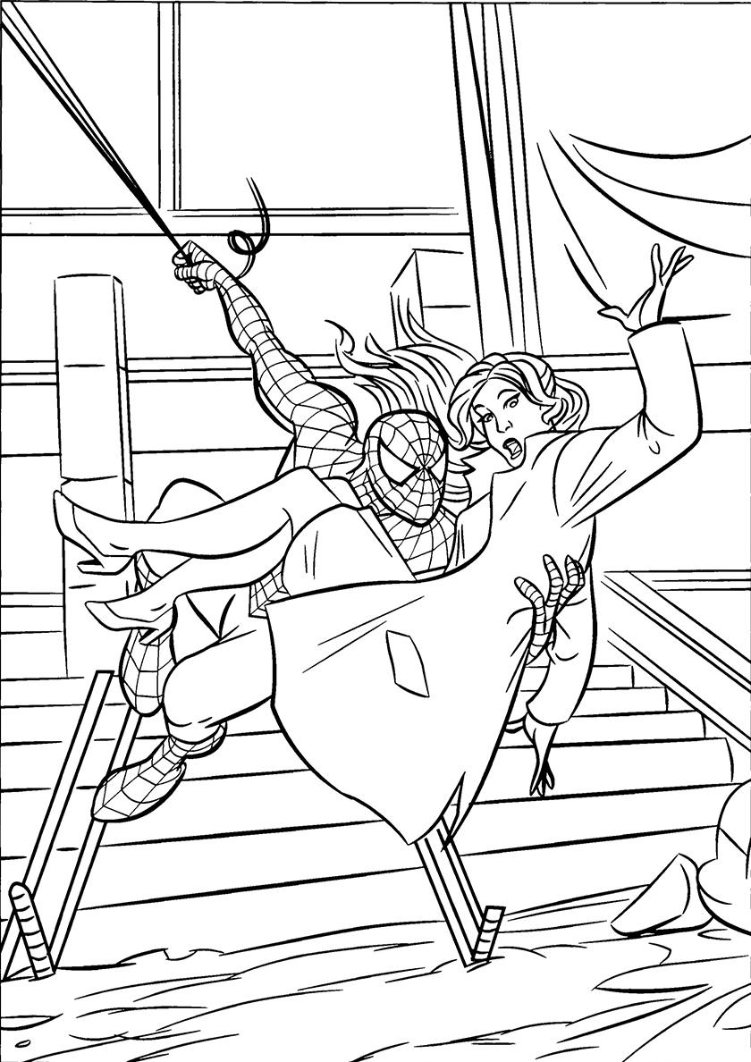 Раскраска Человек-паук спасает девушку распечатать ...