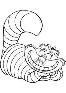 Чеширский кот (Коты, кошки, котята) раскраска для печати и загрузки