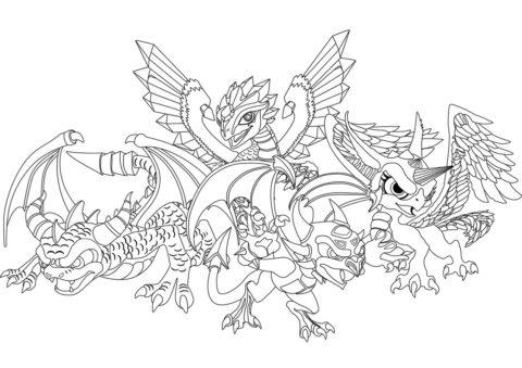 Бесплатная разукрашка для печати и скачивания Четыре маленьких дракона - Драконы