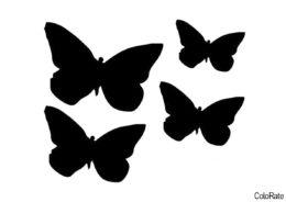 Бесплатный трафарет для вырезания Четыре мотылька - Трафареты бабочек