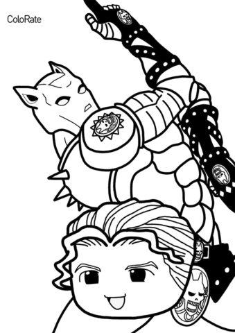 Невероятные приключения ДжоДжо бесплатная раскраска - Чиби Кира Йошикагэ, Киллер Квин