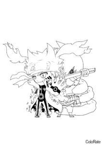 Раскраска Чиби Наруто и Саске - Наруто