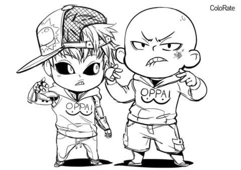 Бесплатная раскраска Чиби Сайтама и Генос распечатать на А4 и скачать - Ванпанчмен