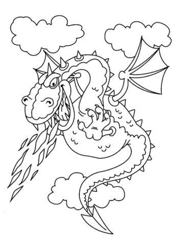 Чудовищный дракон (Драконы) распечатать раскраску
