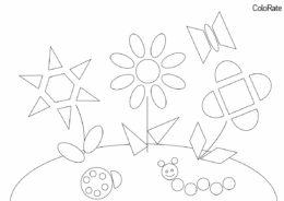 Геометрические фигуры бесплатная раскраска - Цветы из разных фигур