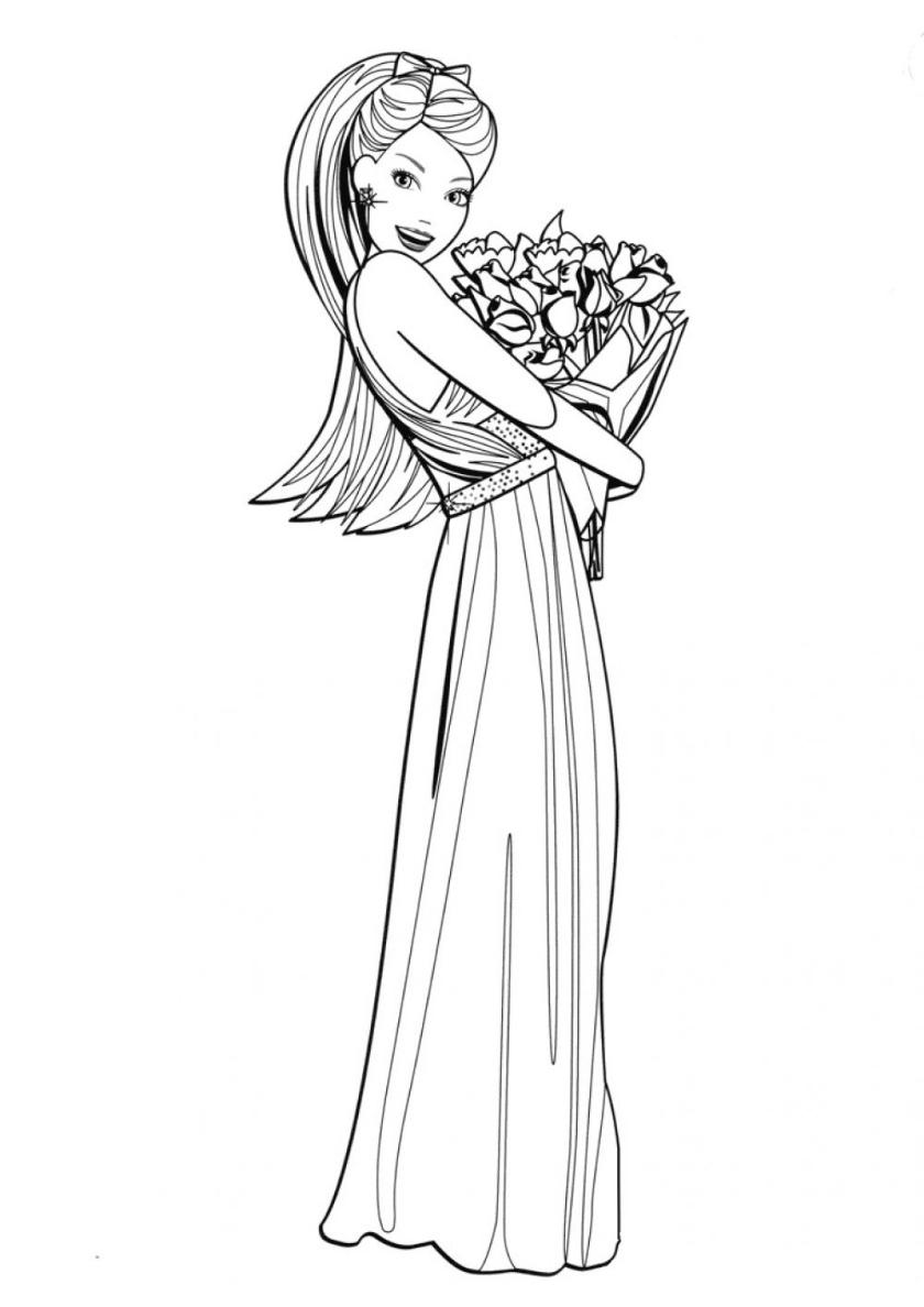 Раскраска Цветы от поклонника распечатать | Барби