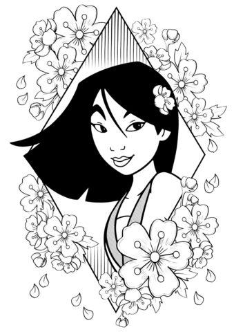 Цветы вишни распечатать раскраску - Мулан
